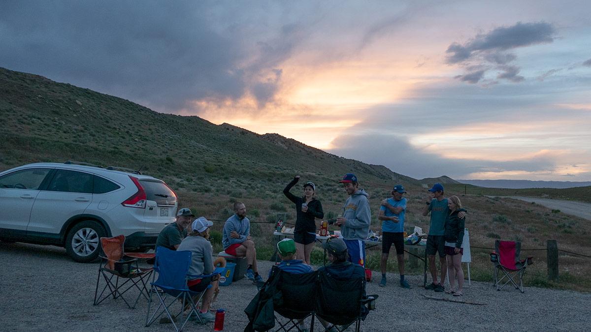 Striders meeting at the trailhead after a group run.