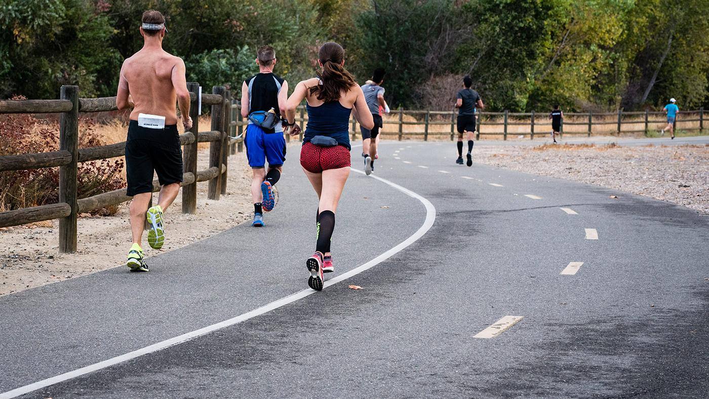 Runners in Grand Junction, Colorado, during the Strider Tom Turkey 6 Mile Prediction Run